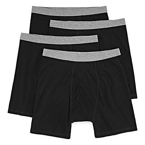 Stafford 4 Pair Blended Cotton Boxer Briefs Big Performance Cotton (3X-Large) Black