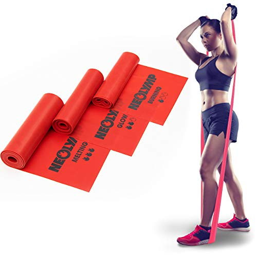 NEOLYMP Premium Fitnessbänder   Theraband   Gymnastikband   langes Fitnessband   Sportbänder   Widerstandsbänder für Crossfit und Yoga   3er Set rot   FB210