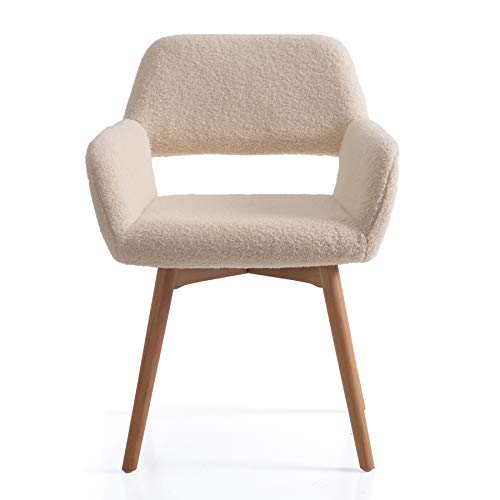 Irene House Silla tocador elegante con patas de madera de haya. Silla de salón de diseño excepcional con respaldo y reposabrazos, silla butaca de recepción, silla comedor moderna. (beige)