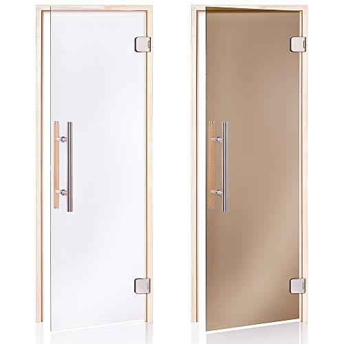 AD Premium Saunatüren, Größe: 70 x 190/70 x 200; Glasfarbe: Transparent oder Bronze; Rahmenmaterial: Espe oder Erle; (Auswahl: 70x190 Espe Bronze)