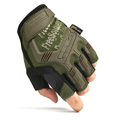 FREE SOLDIER Sport Handschuhe Taktische Motorradhandschuhe Herren Halbfinger Handschuhe mit gepolstertem Ideal für Fahrrad Airsoft Militär Paintball Kletter und andere Outdoor Aktivitäten(L,Grün)