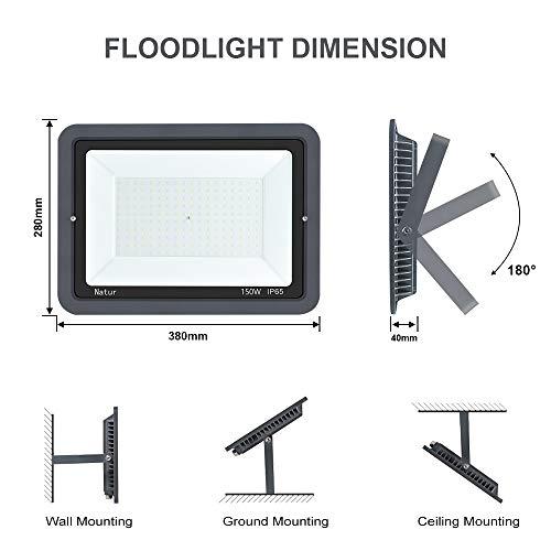 150W LED Foco Exterior Alto Brillo Proyector Led Impermeable IP65 Blanco Frío 6000K Floodlight Led Foco Exterior Iluminación para Patio, Camino, Jardín, Almacén [Clase de Eficiencia Energética A++]