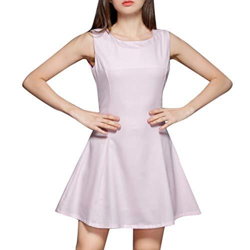 Damen Armellos Spaghetti-Armband Kleider Sommerkleid Elegant Rückenfreies Kurze Kleider A Linie Sommerkleid Elegant Tank Kleid Ausgestelltes Trägerkleid Knielang (M, Pink)
