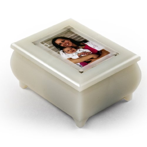 Beautiful Pearl White 3' X 2' Wallet Size Photo Frame Music Jewelry Box with New Pop-Out Lens System for Wedding Gift - Valentines Day Music Box