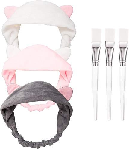 HBselect 3 Stück Gesichtsmaske Pinsel mit 3 Katze Ohr Stirnband Schminken Werkzeug Set für Gesichtsmaske und Augenmaske grau rosa weiß