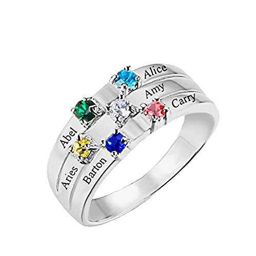 Personalized Mother Rings with 5 Name and 5 Simulated Birthstones Rings for Women Promise Rings for Best Friend(10)