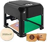 Máquina de grabado láser | 3000 mW de última generación | Grabadora láser fácil de usar para crear grabados profesionales de alta calidad (negro)