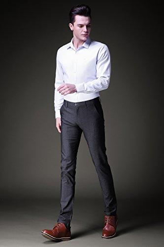INFLATION Mens Plaid Dress Pants, Wrinkle-Free Stretch Slim Fit Elastic Suit Pants Trousers,Gray Pants Size 32