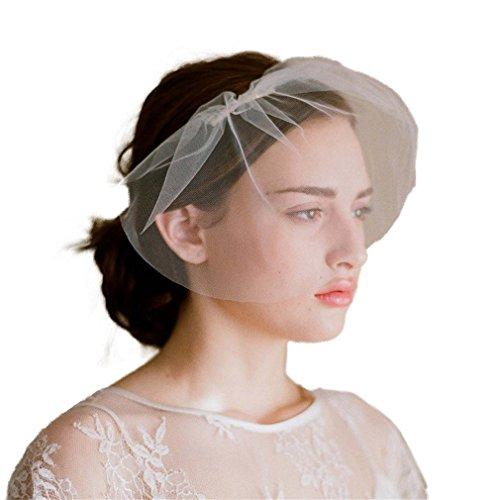 Yazilind Westlicher Stil Hochzeit Kopfschmuck Elegant Brautschleier Weiß Netz Kurz Schleier mit Kamm