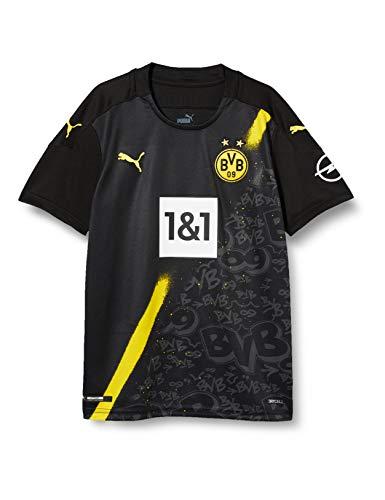 PUMA Jungen T-Shirt BVB Away Shirt Replica SS Jr w.Sponsor New, Puma Black, 128, 931104