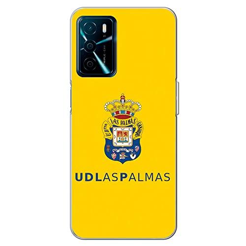 Movilshop Funda para [ OPPO A16 / A16s ] U.D Las Palmas [Escudo Color Fondo Amarillo] Licencia Oficial de Silicona Flexible Transparente Carcasa Case Cover Gel para Smartphone.