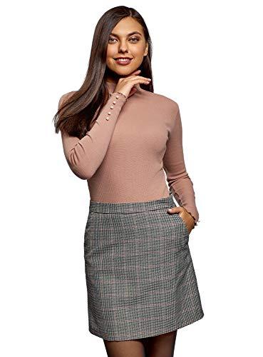 oodji Ultra Mujer Suéter Básico de Cuello Alto de Algodón, Beige, ES 42 / L