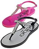 bebe Girls' Sandals – 2 Pack Rhinestone Thong Sandals with Buckle Clasp Heel Strap (Little Kid/Big Kid), Size 13/1, Hot Pink/Black