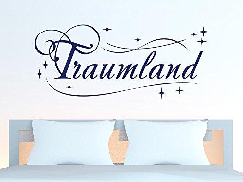 GRAZDesign Schlafzimmer Wandtattoo Traumland, Home Dekoration modern Schriftzug Wand mit Sternen, Wandtattoo Kinderzimmer über Bett / 70x30cm / 010 Weiss