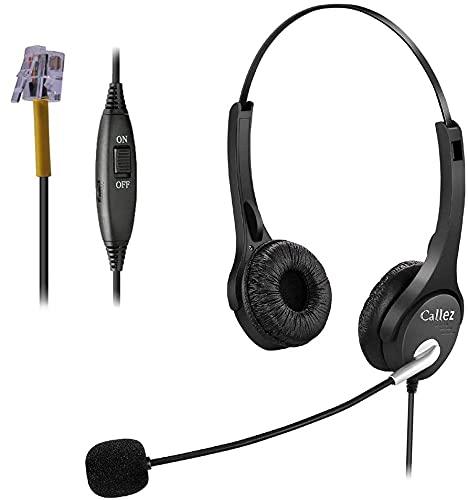 Auriculares de teléfono con micrófono con cancelación de ruido para Yealink T19P T20P T23G T42G Avaya 1608 Grandstream Panasonic KXT Teléfonos IP