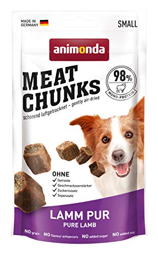 animonda Meat Chunks, Fleischsnacks für ausgewachsene Hunde, Lamm pur, Small, 60 g