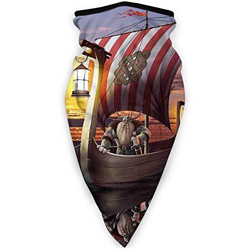 MLNHY - Funda de cara cómoda a prueba de viento, diseño de guerrero en un barco crepúsculo bárbaro nórdico escandinavo, decoración facial impresa para todo el mundo
