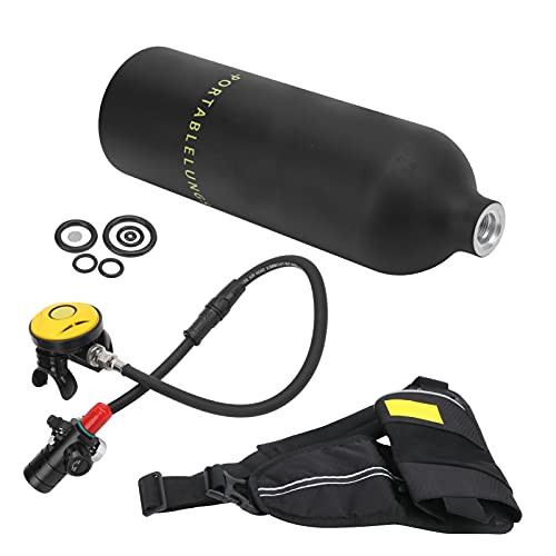 Equipo de snorkel, resistencia al agua y resistencia a la corrosión Kit de tanque de fácil identificación Ampliamente aplicable para buceo(Botella de oxigeno negra)