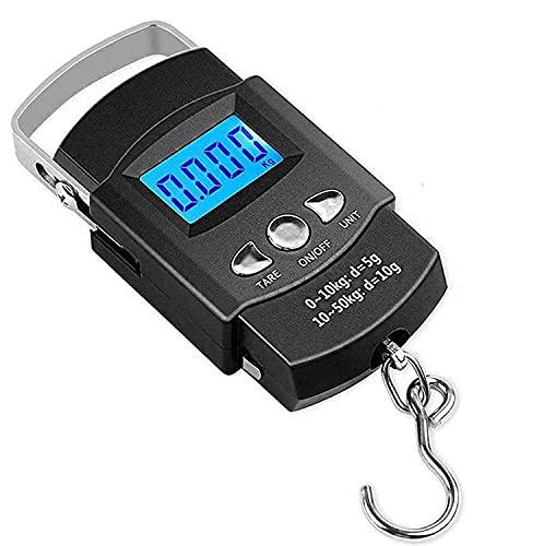 Bilance Pesa Valigie Digitale Elettronico ,Display LCD Retroilluminato per Pesca Postale Bilancia a Mano con Gancio con Nastro di Misura Con Batteria (max:110 lb / 50 kg)