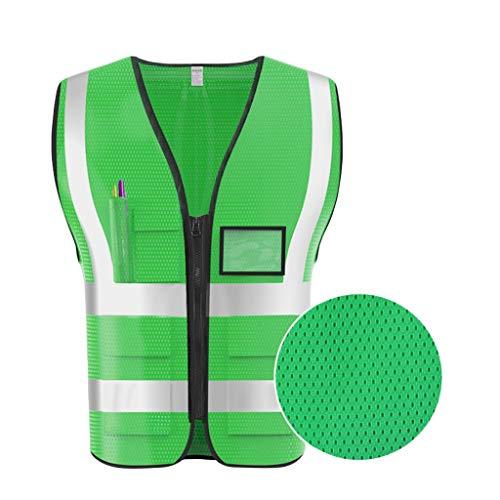 LQ Grüne Warnweste Atmungsaktives Mesh Mehrfach-Arbeitskleidung Reisen bei Nacht Sicherheit Reflektierende Sicherheitsweste Sicherheitswesten