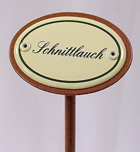 linoows Kräuterschild Kräuterstecker Emaille, Schnittlauch, Erdspieß 25 cm