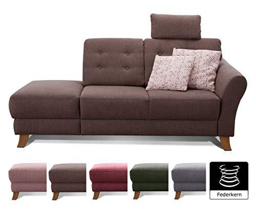Cavadore Recamiere Trond mit Federkern / Modernes Sofa im Landhausstil mit Armteil rechts / Inkl. Kopfstütze und Rückenkissen / 194 x 89 x 92 / Flachgewebe dunkelbraun