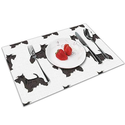 GuoJJ Scottie Dog Cute Scottish Terrier Schwarz-Weiß waschbare Tischsets für Esstisch Doppel Stoff Druck Baumwolle Tischsets für Küchentisch 4er Set Tischmatte 12