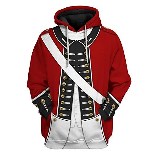 Sudadera medieval con capucha 3D Vintage Caballeros Templarios Sudadera con capucha Manga Larga Jersey Adultos Caballeros Cosplay Disfraz Sudadera