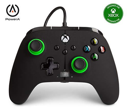 Power a - Mando con Cable, Salida de Audio y Botones Programables, de Color Negro y Verde Para Xbox One y Xbox Serie X (Xbox Series X)