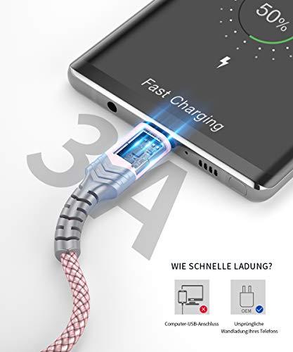 JSAUX USB C Kabel [2 Stück 2M ] Nylon Typ C Ladekabel für Samsung Galaxy S10 S9 S8 Plus,Note 10 9 8,A3 A5 2017,LG G5 G6 V20,HTC 10 U11,Sony Xperia XZ Xa1, Huawei P30 P20 Mate 20 Lite P10 P9 usw (Rosa)