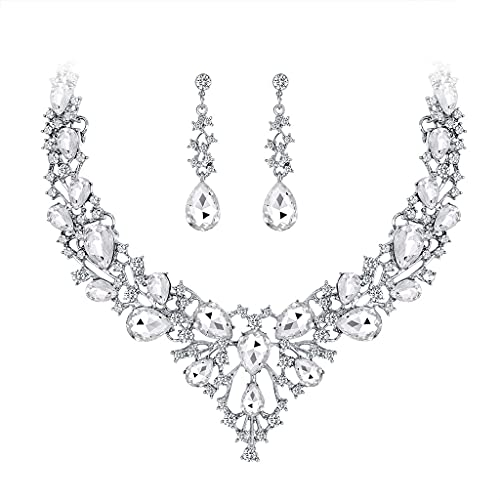CareMont Nuevos Conjuntos de Joyas de Boda para Mujeres con Dijes Accesorios Collar de Cristal de Diamantes de ImitacióN Conjuntos de Pendientes