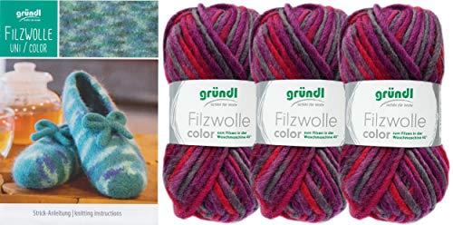 3x50 Gramm Gründl Filzwolle Color Wolle SB-Pack Wollset inkl. Anleitung für gestreifte Filzhausschuhe mit 2 Strasssteine zum aufnähen (24 Brombeer Grau Rot)