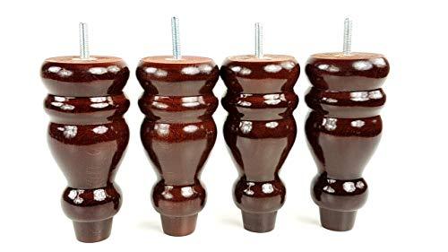 4 patas de madera maciza de caoba de repuesto para sofás, sillas, taburetes de pie M10 (10 mm) PKC340
