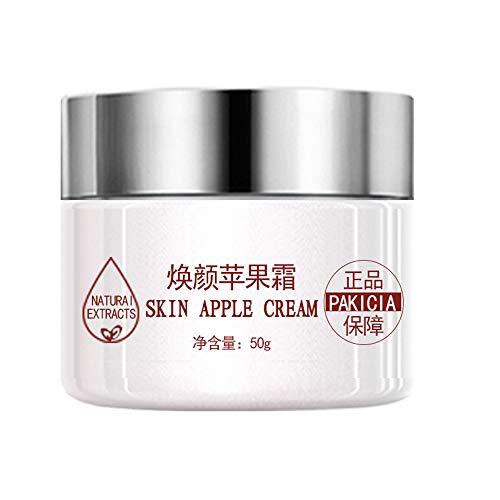 Crema hidratante facial antiarrugas y crema antiarrugas con vitaminas, colágeno ácido hialurónico para todo tipo de pieles. (Crema de manzana)