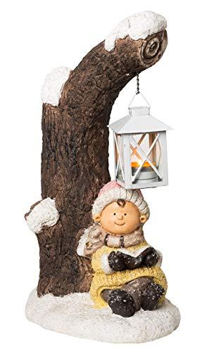 Wichtelstube-Kollektion XXL 40cm Dekofigur Winterkind mit Laterne Weihnachten Weihnachtsdeko Figuren Garten