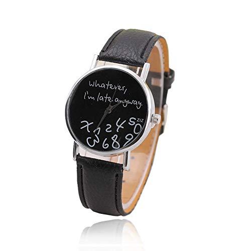TrifyCore Único Nuevo Reloj Divertido de la Manera Mujeres Hombres Cuarzo analógico Lo Que Sea, Estoy Tarde Reloj de Pulsera (Banda Blanca Superficie Blanca)