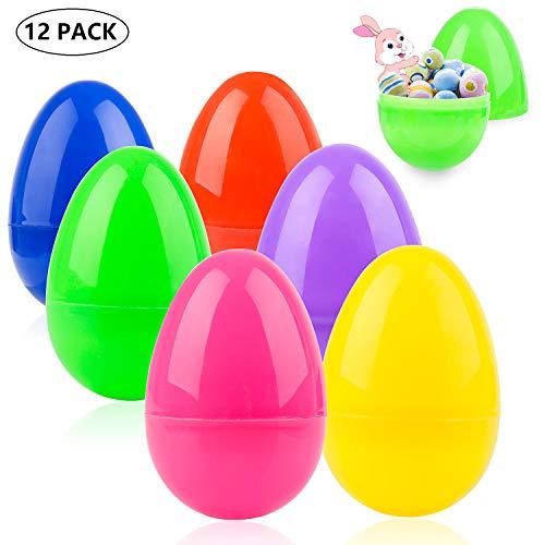 Diealles Shine 12Pcs Uova di Pasqua Colorate,Uova di Pasqua in Plastica Colorate,Ideali per Caccia alle Uova di Pasqua Perfette per Fai da Te, Decorazione per la casa, Regali e Altro