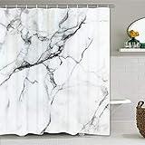 Alishomtll Duschvorhang Textil Duschvorhang Stoff mit Ringen, Marmor Duschvorhang Badewanne Digitaldruck Polyester Anti Schimmel, 175x178cm