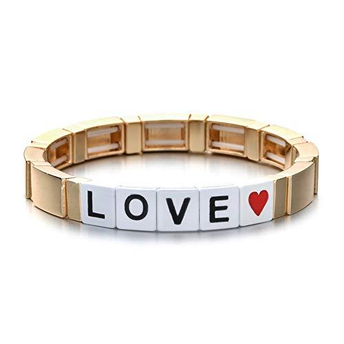 NA Hjpam DIY Armbänder Für Frauen Bohemian Handmade Elastic Stretch Stack Armband Manschette Emaille Fliesen Brief Perlen Armband   Charm Armbänder