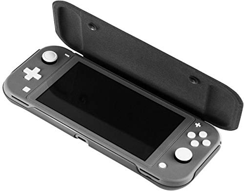 TNE - Switch Lite Flip Cover Case & Tempered Glass Screen Protector   Ultra Slim Protective Cover with Comfortable Hand Grips for 2019 Nintendo Switch Lite Portable Gaming System (Dark Gray)