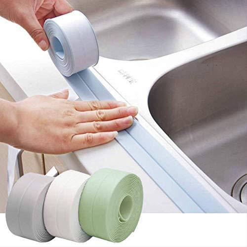 PVC Keuken Waterdicht Anti-schimmel tape Keuken en badkamer Zelfklevende voeg Afdichtstrip Badkamer Toilet Crack Muur Hoeklijn Sticker Smal Wit