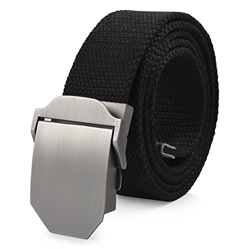 VBIGER Canvas belt with automatic buckles for men One size Black 2
