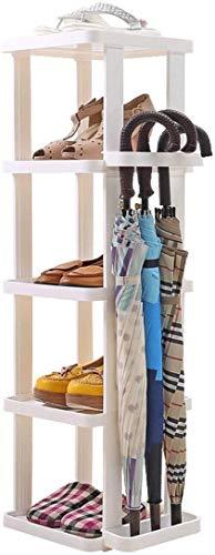 Wddwarmhome Rack de Zapatos de plástico de 5 Niveles fáciles con Bastidor de Paraguas, Organizador de Almacenamiento de pie, ensamblar fácilmente Blanco, 34 x 29.5 x 100 cm