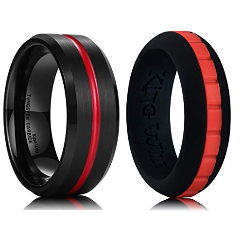 King Will Mens Red Groove Black Brushed Tungsten Carbide Wedding Ring &...