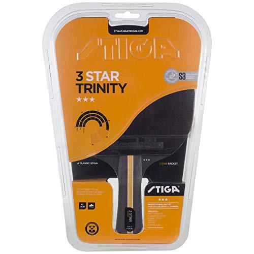 Stiga 3-Star Trinity Concave Tischtennis-Schläger, Schwarz/Rot, Einheitsgröße