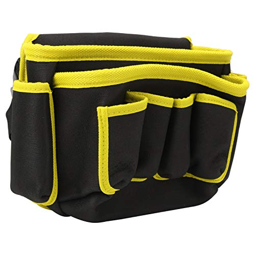 DAUERHAFT Electrician bBag Bolsa de Almacenamiento de Herramientas de múltiples Bolsas con Tapa, para Fontanero, para Acampar(Yellow Edge)