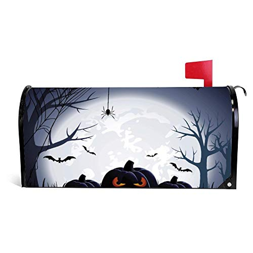 Yilooom Halloween Night with Pumpkin Spider Flying Bats Mailbox Cover Magnetic Mail Box Wrap Yard Garden Decor 17.25 X 20.75 Inches