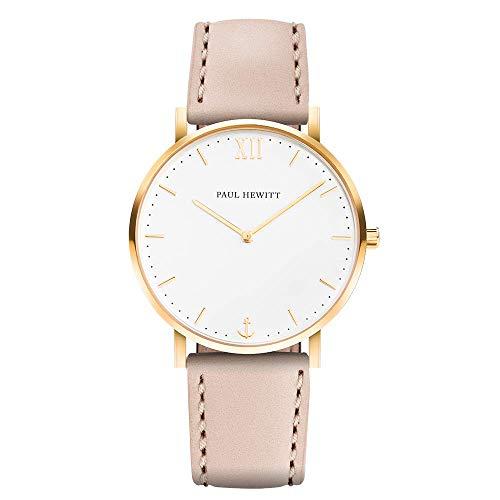 PAUL HEWITT Armbanduhr Damen Sailor Line White Sand - Damen Uhr (Gold), Damenuhr mit Lederarmband in Beige, weißes Ziffernblatt