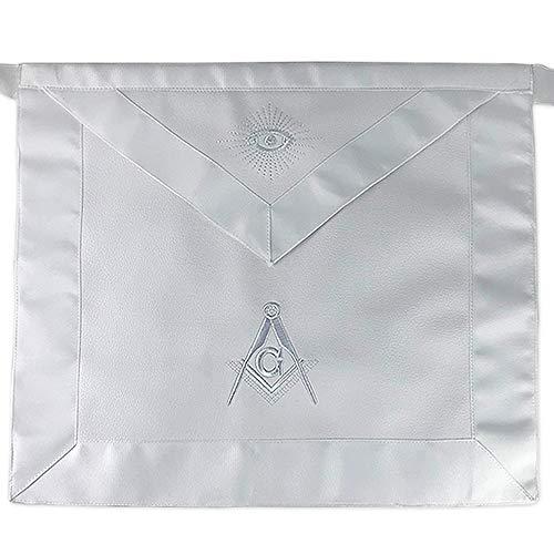 Masonic Master Mason White Apron Square Compass with G - Synthetic Leather