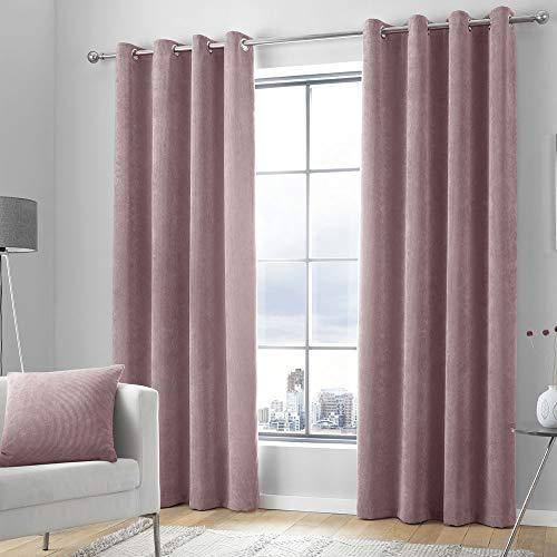 Curtina Kilbride - Par de Cortinas de Chenilla con Ojales (117 x 137 cm), Color Rosa